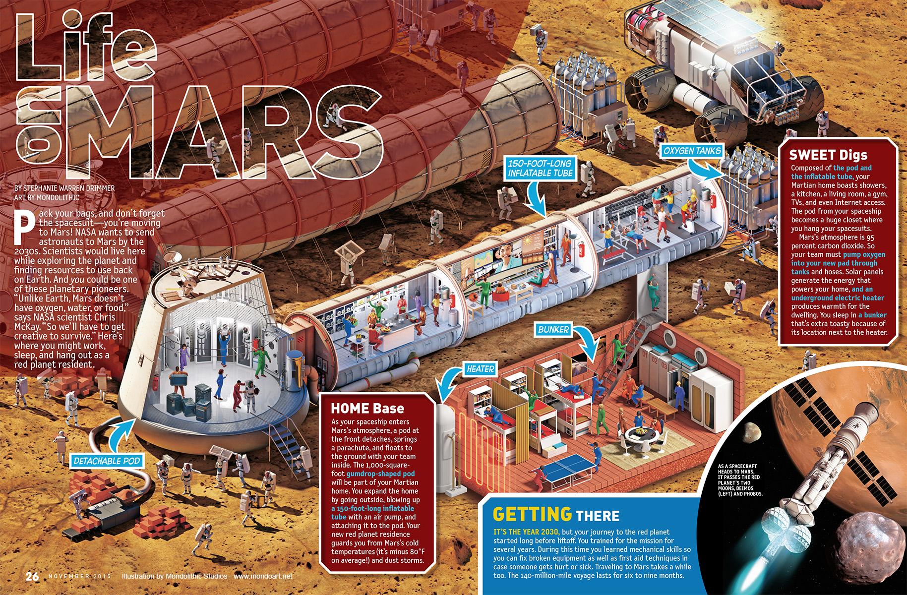 Mars base illustrations for National Geographic Kids ...