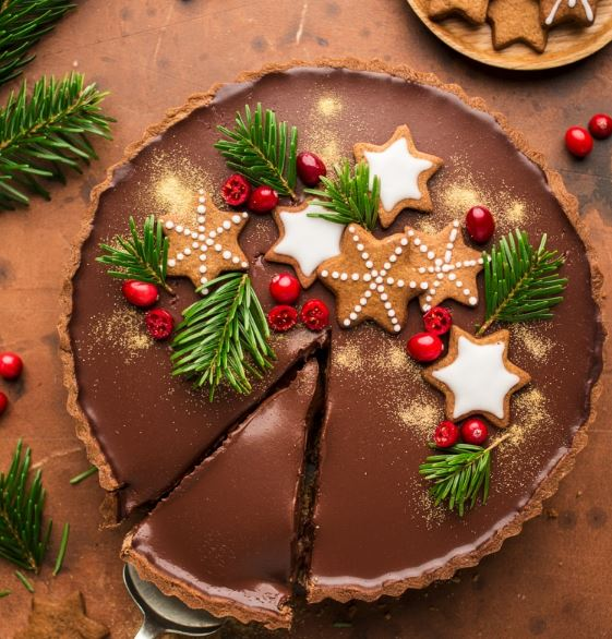 Christmas Cake  - Gingerbread amaretto chocolate tart