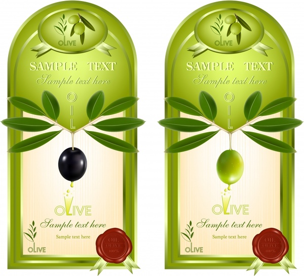 Olive oil label template modern green decor Free vector