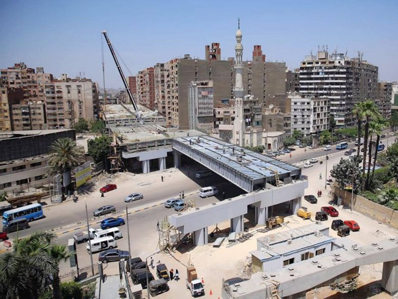 Egipto autopista bloquea una cuadra de edificios