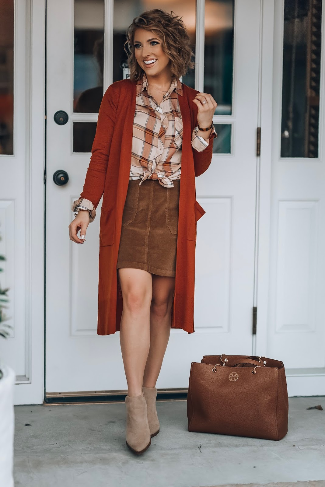 The Perfect Plaid Button Down With Longline Cardigan (both under $30) & Cord Skirt - Something Delightful Blog #fallstyle #targetstyle #fallfashion #affordablestyle