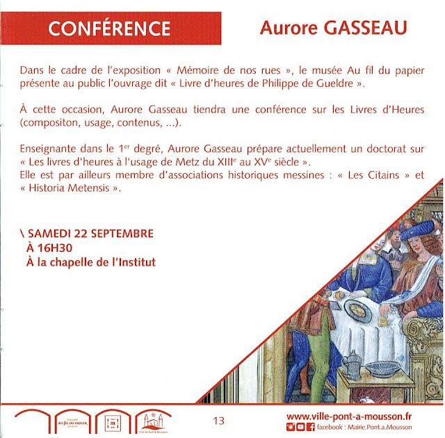 """PONT-A-MOUSSON (54) - Conférence """"Le Livre d'Heures de Philippe de Gueldre"""" (22 sept 2018)"""