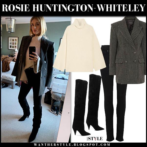 Rosie Huntington-Whiteley in grey wool isabel marant jaxen blazer, beige sweater and black suede boots model winter style december 13