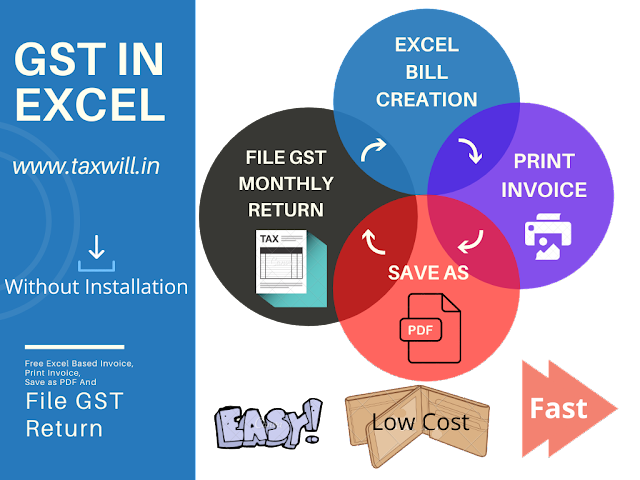 Free Excel Based Invoice, Bill Print Hand to hand Bill, Save as PDF And File GST Return