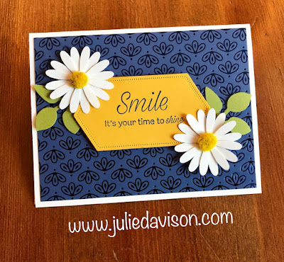 Stampin' Up! Daisy Lane Smile Card for #GDP198 ~ Noble Peacock Specialty Paper ~ 2019-2020 Annual Catalog ~ www.juliedavison.com