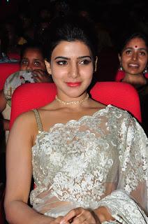 Actress Samantha Stills in Designer Saree at Surya 24 Movie Audio Launch 0022