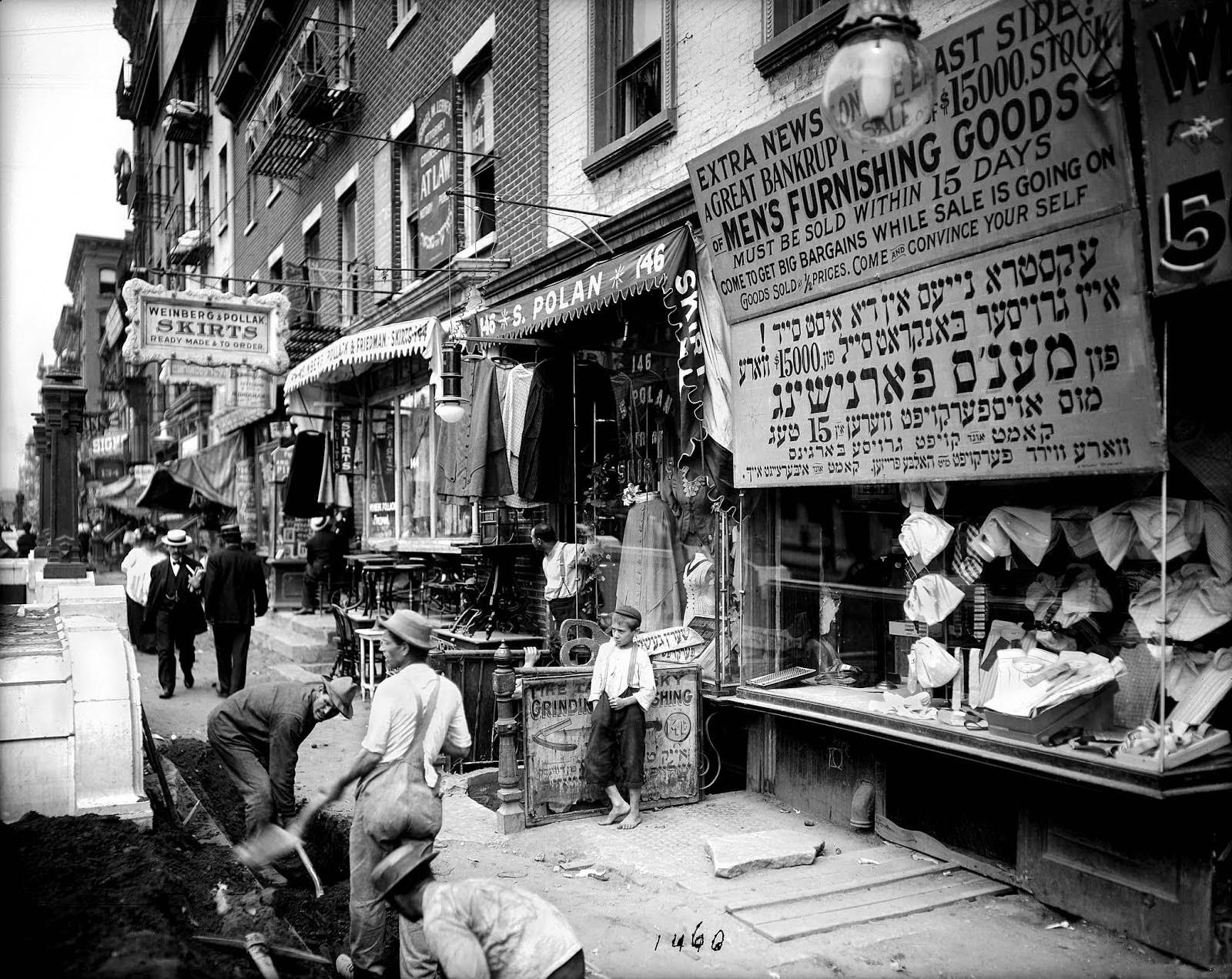 Trabajadores en Delancey Street, Julio 1908