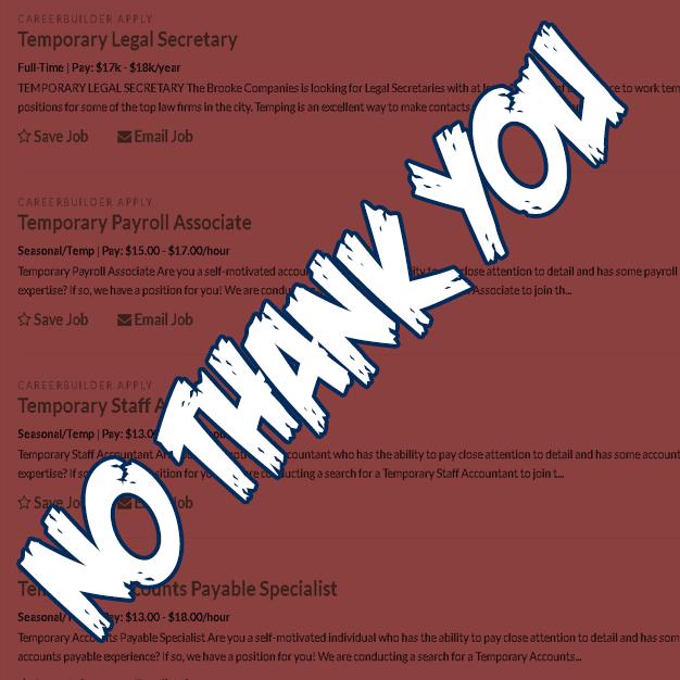 the employment insider job seeker alert temporary work has code
