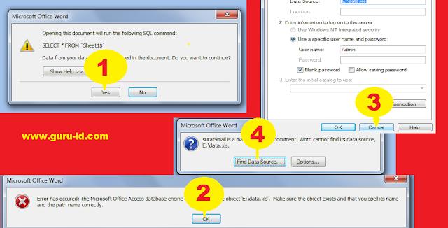 gambar cara buat mail merge SKHUN di word