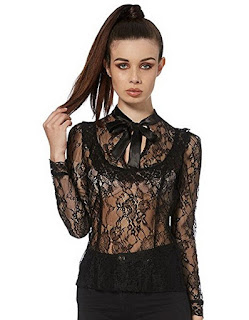 women's black lace steampunk victorian gothic blouse with bow tie neck and sheer lace. women's steampunk clothing.