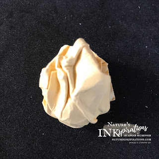 The first wadded ball of So Saffron cardstock | Nature's INKspirations by Angie McKenzie
