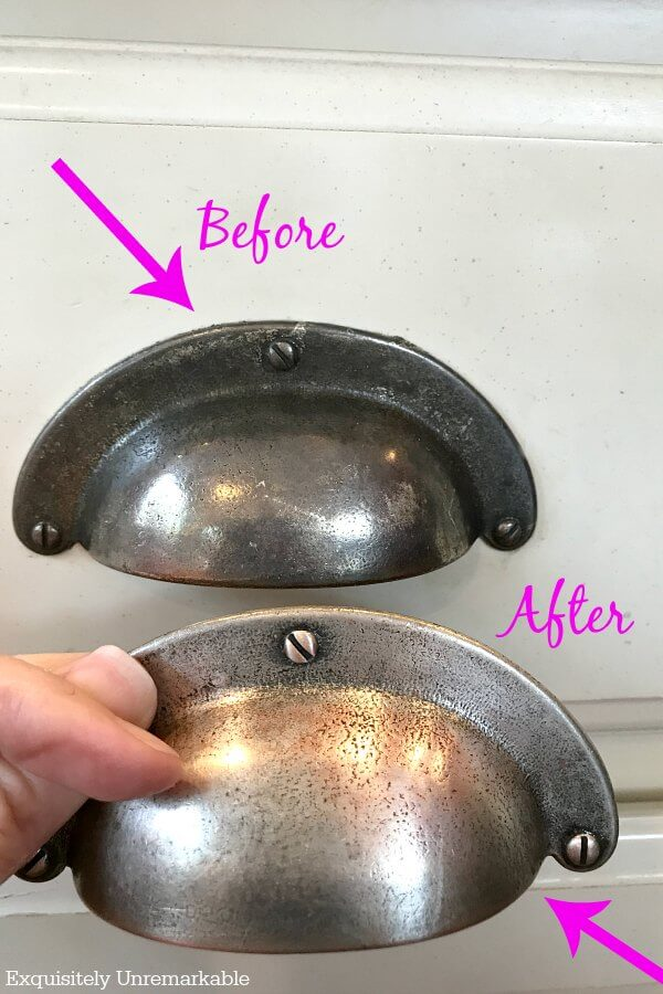 Before And After Cleaning Dirty Silver Kitchen Pulls