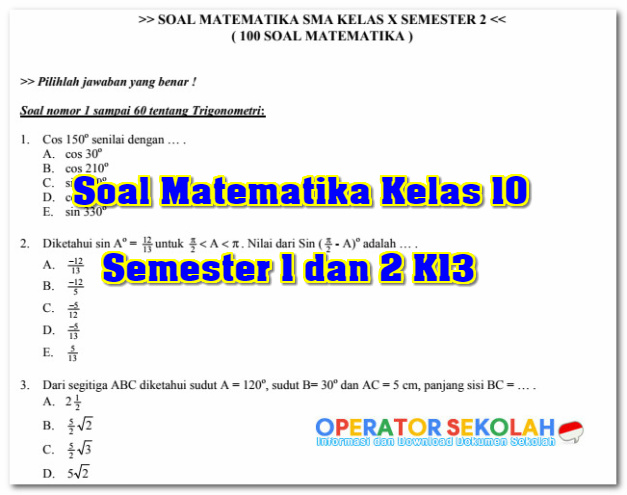 Soal Matematika Kelas 10 Semester 1 dan 2 K13