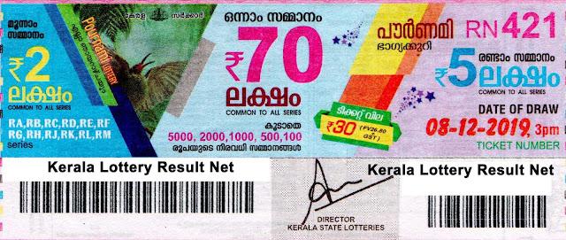 Kerala Lottery 08-12-2019 Pournami RN-421