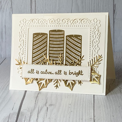 Christmas Card idea using an ornate border around 3 Gold Embossed Striped Candles