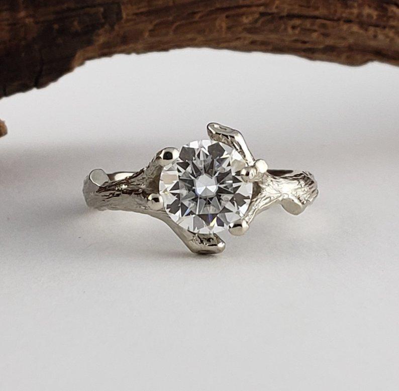 1.67Ct Forever Round 3Stone Moissanite Bridal Set Engagement Ring 14k White Gold