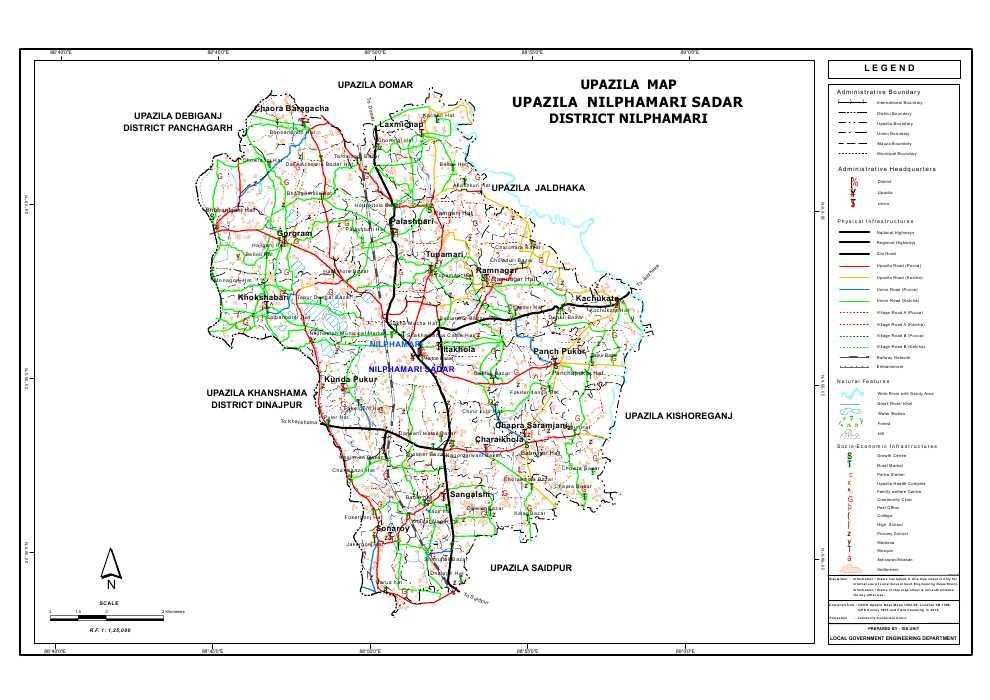 Nilphamari Sadar Upazila Map Nilphamari District Bangladesh
