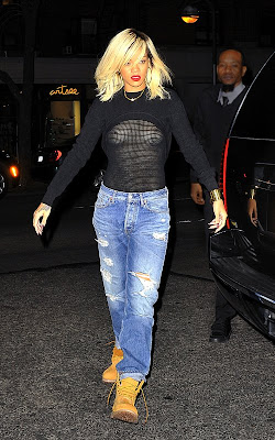 Rihanna See-Through Mesh Top Revealing Boobs