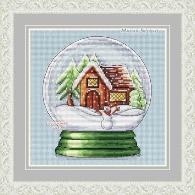 Motivo per sfera di neve a punto croce