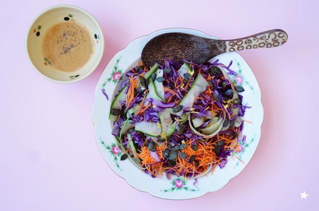 salade chou rouge carotte concombre vegan healthyfood