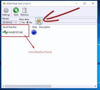 Serial Number Ponsel Asus Z007 yang muncul pada Flash Tool Asus