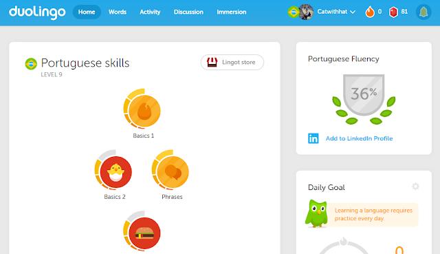Početna strana platforme Duolingo