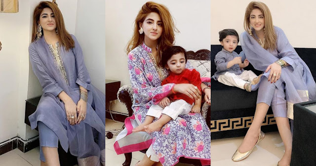 Actress Fatima Sohail Eid Pictures with her Son