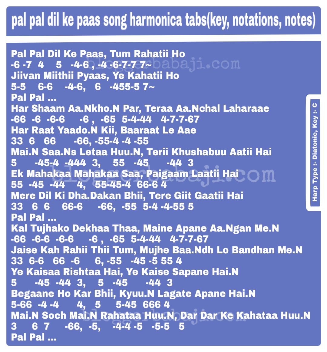 Pal Pal Dil Ke Paas Song Harmonica Tabs Key Notations Notes
