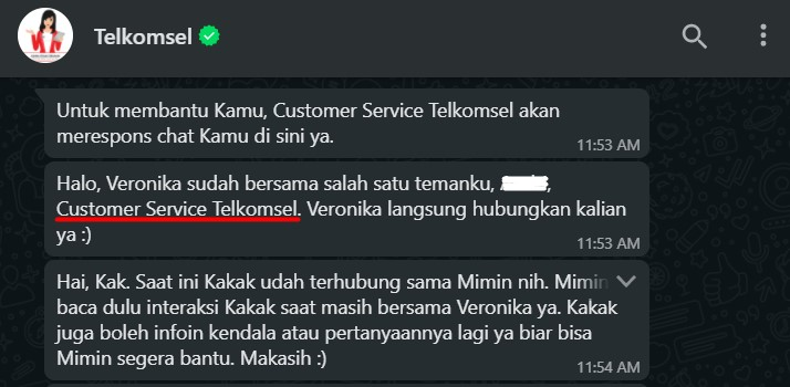 Peralihan Veronika dengan pegawai customer care di Asisten Virtual Telkomsel