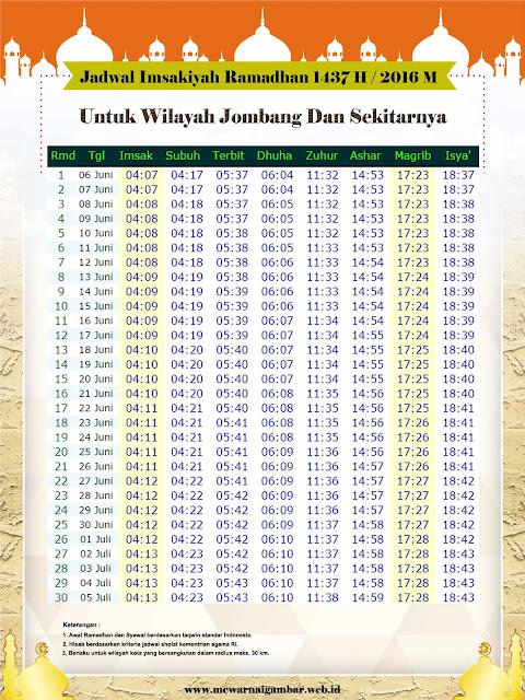 Jadwal Imsakiyah Jombang 2016 1437 H