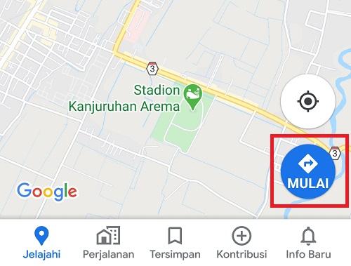 tombol untuk memulai rute Google Maps
