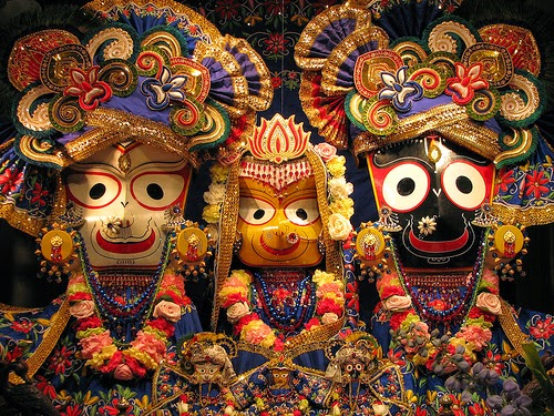 Krishna, Subhadra and Balarama (from right to left)