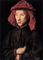 Portrait of Italian merchant Giovanni di Nicolao Arnolfini by Flemish painter Jan van Eyck, circa 1438
