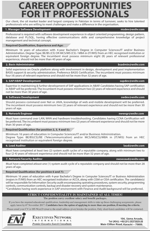 Oil and Gas Jobs, Eni Jobs, IT Jobs, Engineering Jobs, Software Jobs, Jobs in Karachi