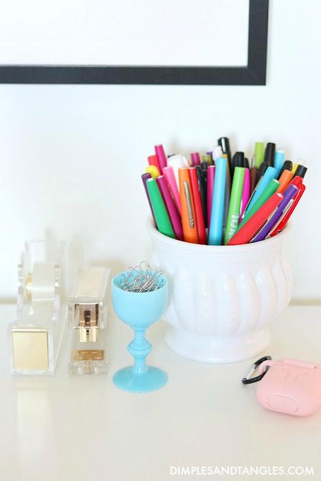 blue opaline glass, cordial glass, paper clip holder, office supplies organization