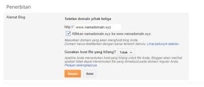 Alihkan domain blogspot