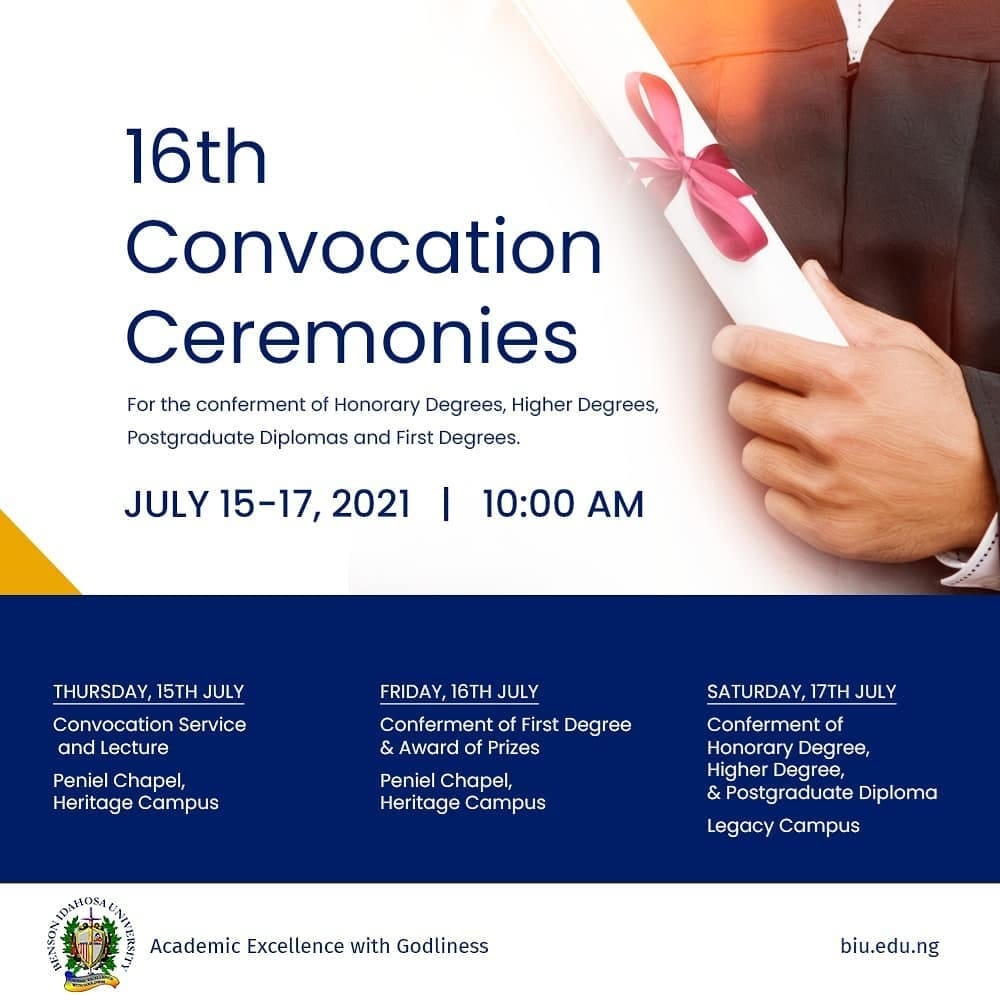 BIU 16th Convocation Ceremony Programme of Events 2021