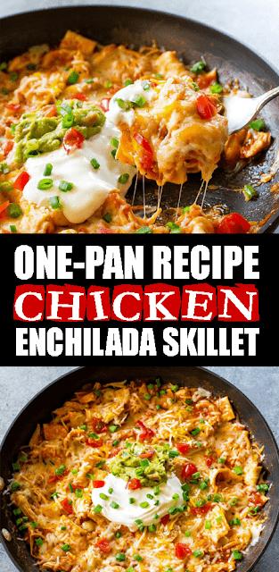 ONE-PAN #CHICKENENCHILADA SKILLET