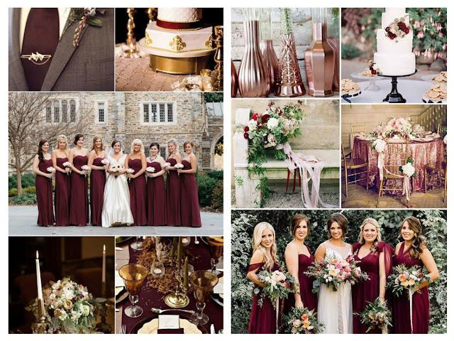 Burgundy - jesienne zaproszenia ślubne ze złoceniem
