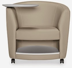 Sirena Mobile Tablet Arm Lounge Chair with Storage Shelf