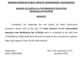 ANDHRA PRADESH PUBLIC SERVICE COMMISSION VIJAYAWADA /2020/02/Revised-time-table-for-CBT-examination-to-the-post-of-Junior-Lecturers-in-AP.html