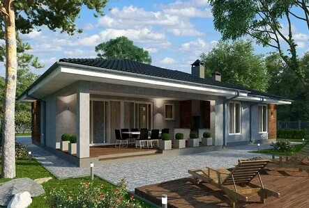 One-storey house with a furnished terrace and ornamental vegetation