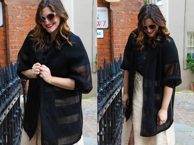 Marina Rinaldi Black Jacket, gold shoes, drawstring midi skirt, rock t-shirt