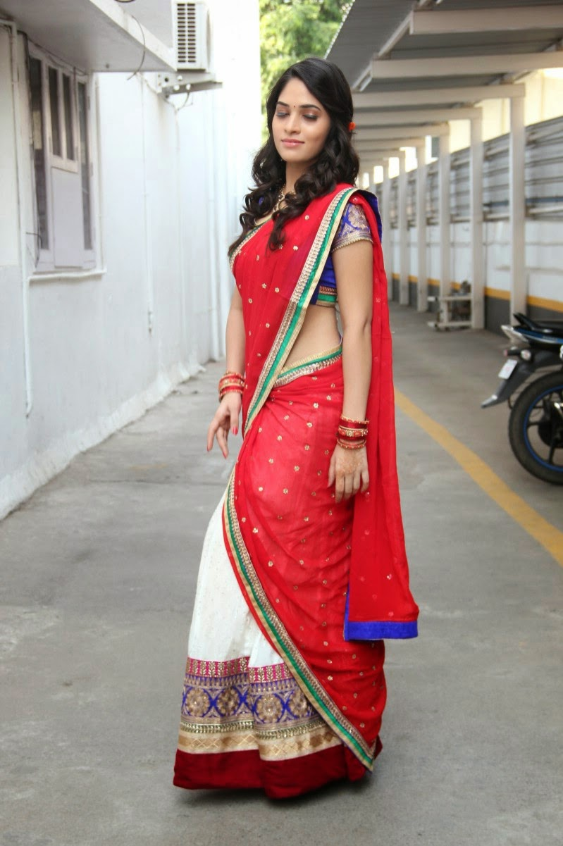 80be44a386e350 South Indian Actress Sanyathara In Beautiful Red And White Lehenga Half  Saree