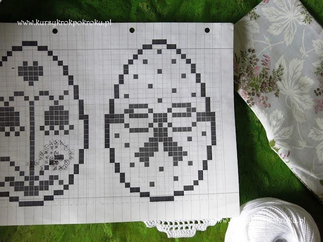 Zawieszki jajka, szydełkowy filet cz.2 - SCHEMATY + SZABLON
