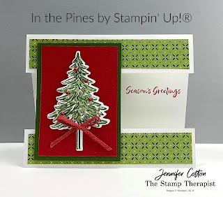 "This ""split front"" card uses Stampin' Up!®'s In the Pines Bundle.  #StampinUp #StampTherapist"