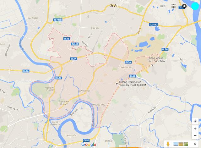 Bản đồ bán nhà Quận Thủ Đức
