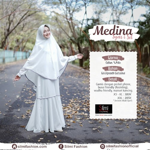 silmi fashion gamis medina cotton white