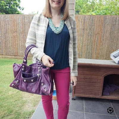 awayfromtheblue Instagram | magenta skinny jeans outfit with navy tank jacquard jacket and purple Balenciaga work bag