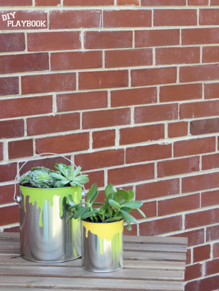 DIY paint can planters make a great gift for Dad.